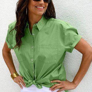 Fresh Produce XS Leaf Green Oxford Camp Shirt NWT